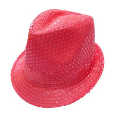 Sequined Neon Light Pink Mafia Hat