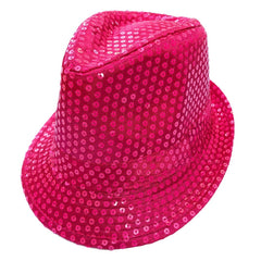Sequined Neon Cerise Pink Mafia Hat