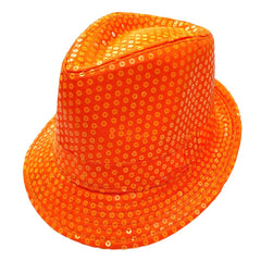 Sequined Neon Orange Mafia Hat