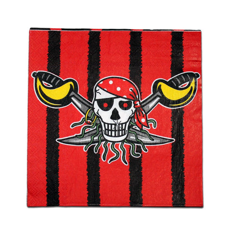 Pirate Napkins - Black And Red - Pack Of 10 boys, childrens, napkins, party supplies, pirate, pirates, red, standard