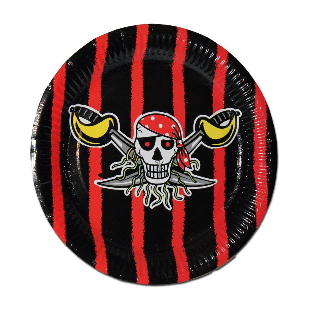 Pirate Paper Plates - Black And Red - Pack Of 10 boys, childrens, clearance, paper, party supplies, pirate, pirates, plate, red, standard
