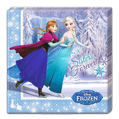 Frozen Ice Skating Napkins - Pack Of 20 anna, childrens, clearance, disney, elsa, frozen, girls, licensed, napkins, olaf, party supplies, serviettes
