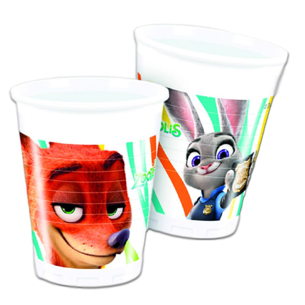 Drinking Cups - Zootropolis Plastic Drinking Cups - Pack Of 8