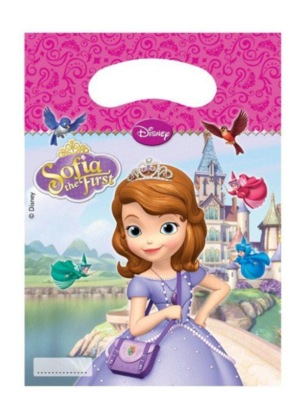 Sofia The First Loot Bags - Pack Of 6 childrens, clearance, disney, girls, licensed, loot bag, party supplies, sofia, sofia the first