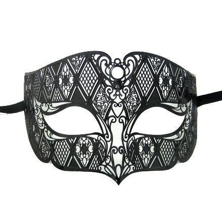 Baroc Plain Laser Cut Metal Masquerade Mask - No Stones