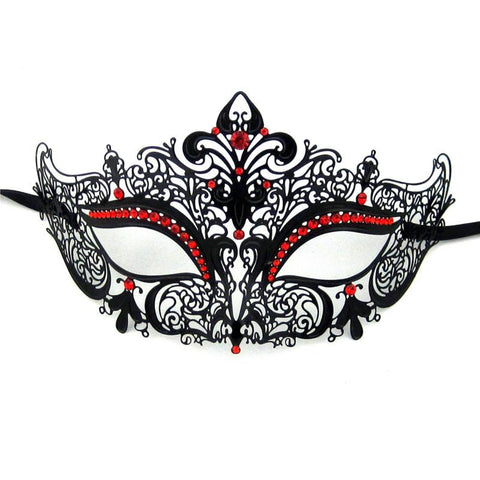 Ladies Masquerade Mask - Dainty Laser Cut Metal Masquerade Mask With Red Rhinestones