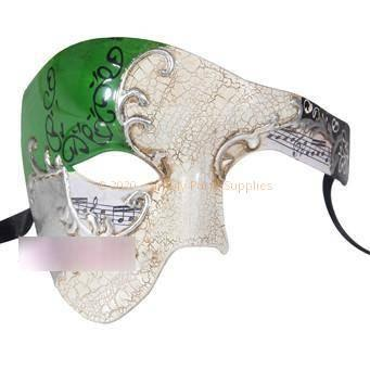 Deluxe Music Note Phantom Of The Opera Masquerade Mask In Green Silver White