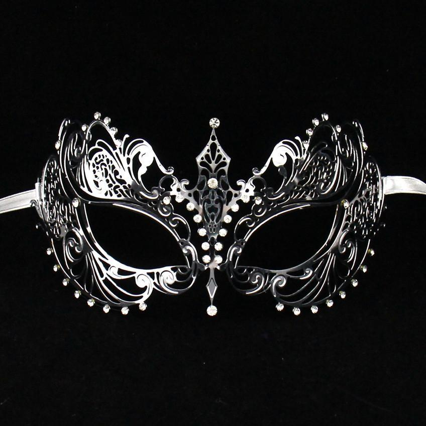 Cateye Silver Metal Masquerade Mask With White Rhinestones - Ladies Masquerade Mask - Simply Party Supplies