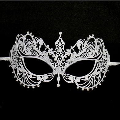 Ladies Masquerade Mask - White Fifty Shades Metal Masquerade Mask With Rhinestones