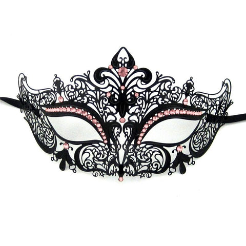 Ladies Masquerade Mask - Dainty Laser Cut Metal Masquerade Mask With Pink Rhinestones