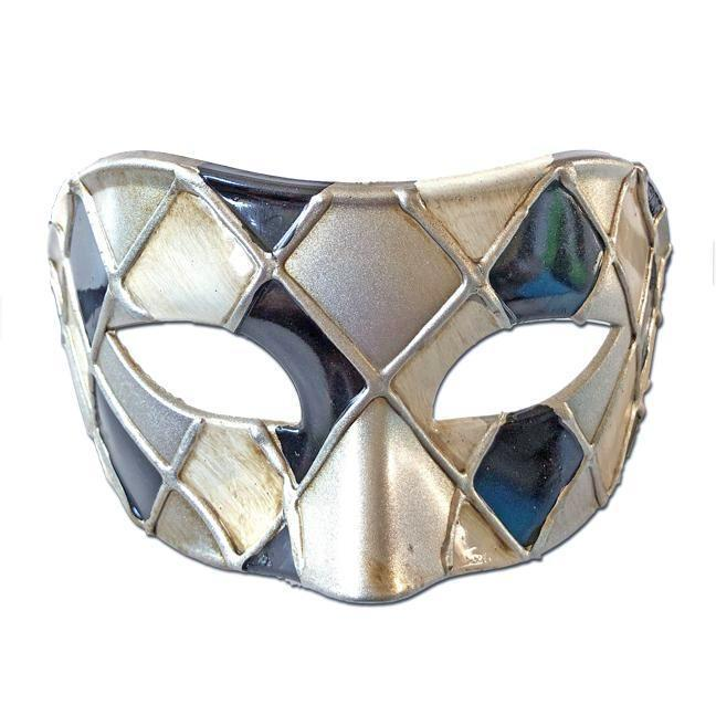 Masquerade Mask - Deluxe Venetian Diamond Masquerade Mask with Black White Silver
