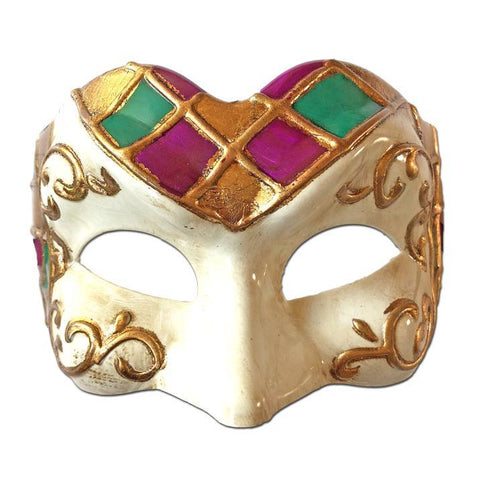Deluxe Venetian Masquerade Mask with Purple Green Gold