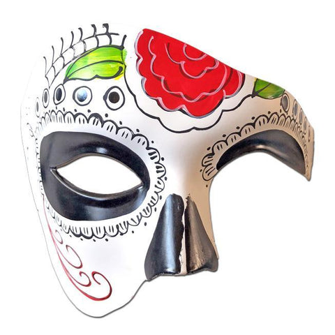 Deluxe Day of The Dead Masquerade Mask with Red Rose black, day of the dead, deluxe, fancy dress, mardi gras, masks, masquerade, mens, phantom of the opera, red, venetian, white, womens