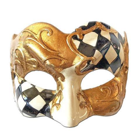 Deluxe Venetian Checked Masquerade Mask with Black White Gold