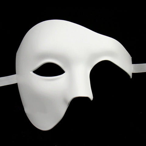 White Mens Phantom Of The Opera Masquerade Mask