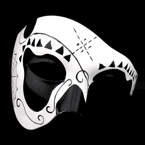Black And White Deluxe Day of The Dead Masquerade Mask