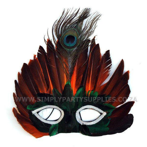 Peacock Feather Owl Masquerade Mask