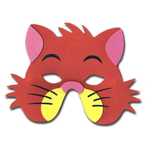 Cat Childrens Foam Animal Mask - Orange