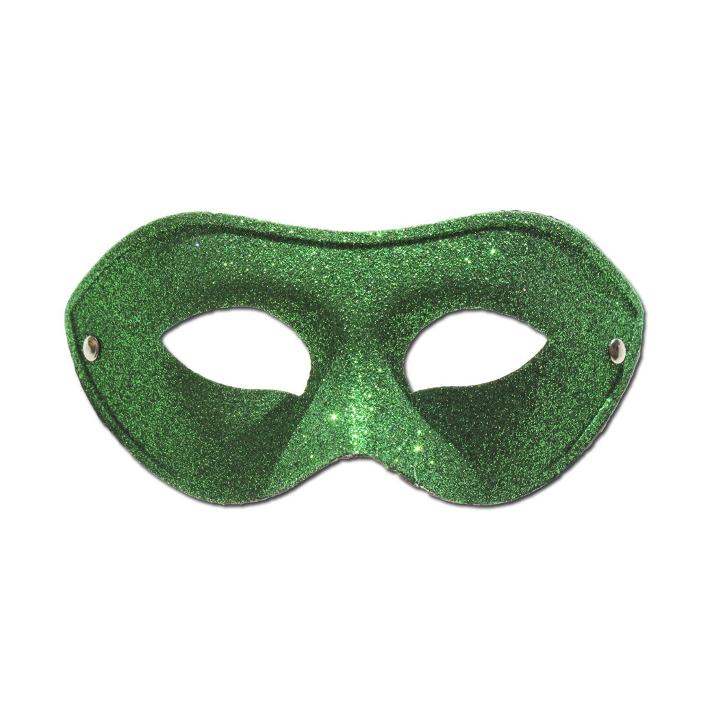 Basic Green Glitter Masquerade Mask - Masquerade Mask - Simply Party Supplies