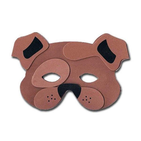 Bulldog Childrens Foam Animal Mask - Brown