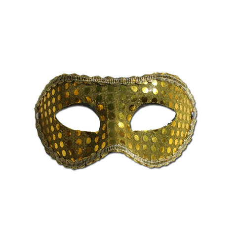 Sequined Gold Masquerade Mask With Trim