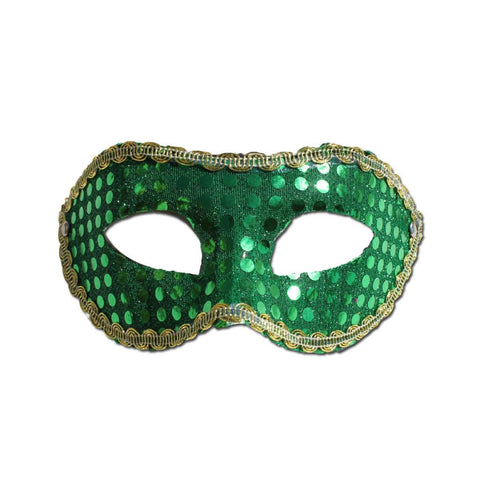 Sequined Green Masquerade Mask With Trim