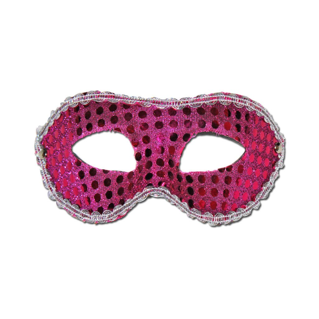 Masquerade Mask - Sequined Pink Masquerade Mask With Trim