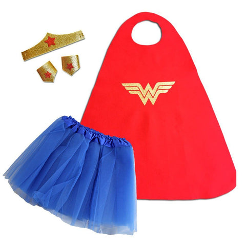 Children's Superhero Cape Set - Wonder Woman blue, cape, child one size, childrens, costume, fancy dress, foam, girls, glitter, gold, heroes, red, superhero, wonder woman, wonderwoman