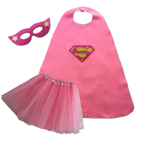 Children's Superhero Cape Set - Super Girl - Pink cape, child one size, childrens, costume, fancy dress, foam, girls, glitter, gold, heroes, pink, supergirl, superhero