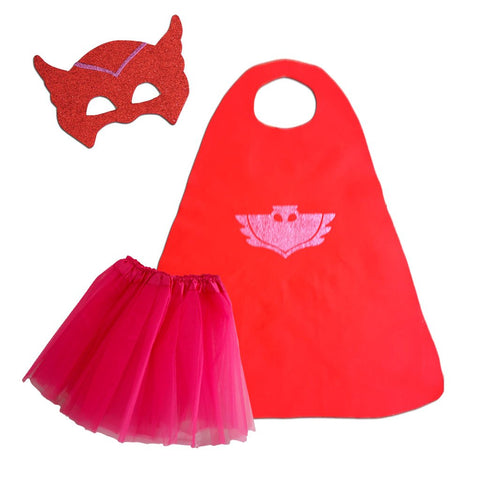 Children's Superhero Cape Set - Girls Owl Costume - Fancy Dress Costume - Simply Party Supplies
