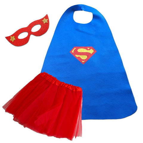 Children's Superhero Cape Set - Super Girl - Red/Blue blue, cape, child one size, childrens, costume, fancy dress, foam, girls, glitter, gold, heroes, red, supergirl, superhero