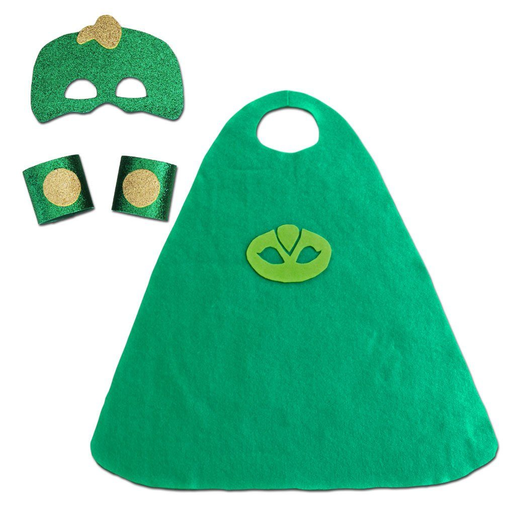Children's Superhero Cape Set - Green Gecko - Fancy Dress Costume - Simply Party Supplies