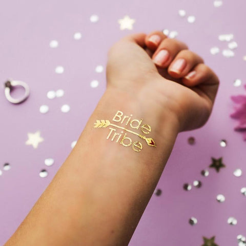 Bride Tribe Temporary Tattoo - Metallic Gold with Arrow - 2 pack ankle, arm, bridal, bride, bride tribe, bridesmaid, gold, metallic, order 30, sheet, tattoo, themed, wholesale, womens, wrist
