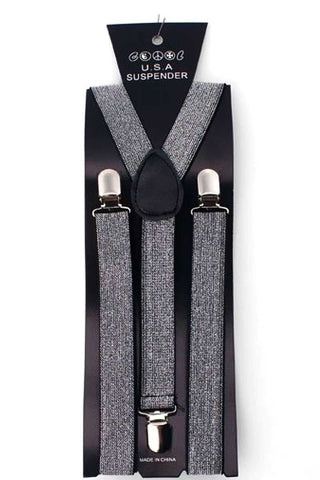 Suspenders - Sparkly Silver 1920's, accessories, adults, alice in wonderland, casino, childrens, clown, fancy dress, gangster, great gatsby, mafia, magician, mens, silver, suspender, suspenders, womens