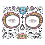 Day of the Dead Blue Floral Face Halloween Skull Temporary Tattoo