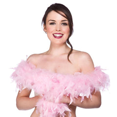 Feather Boa 2m - Light Pink 1920's, accessories, adult one size, bachelorette, burlesque, fancy dress, feather, feather boa, feathers, flapper, gangster, great gatsby, ladies, maffia, mafia, mardi gras, masquerade, pink, womens