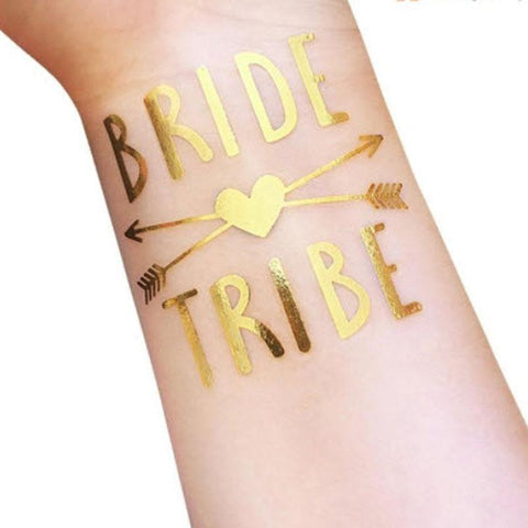 Bride Tribe Temporary Tattoo - Metallic Gold with Arrow and Heart ankle, arm, bridal, bride, bride tribe, bridesmaid, gold, metallic, order 30, sheet, tattoo, themed, wholesale, womens, wrist