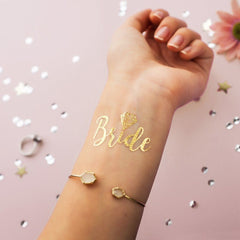 Bride Temporary Tattoo - Metallic Gold with Diamond - 2 pack ankle, arm, bridal, bride, bride tribe, bridesmaid, gold, metallic, order 30, sheet, tattoo, themed, wholesale, womens, wrist