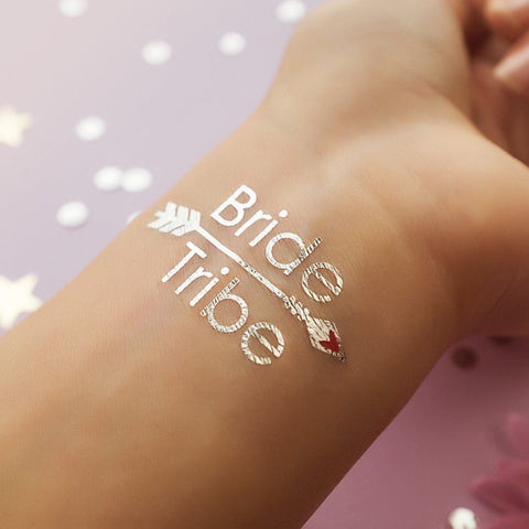 Bride Tribe Temporary Tattoo - Metallic Silver with Arrow - 2 pack ankle, arm, bridal, bride, bride tribe, bridesmaid, metallic, order 30, sheet, silver, tattoo, themed, wholesale, womens, wrist