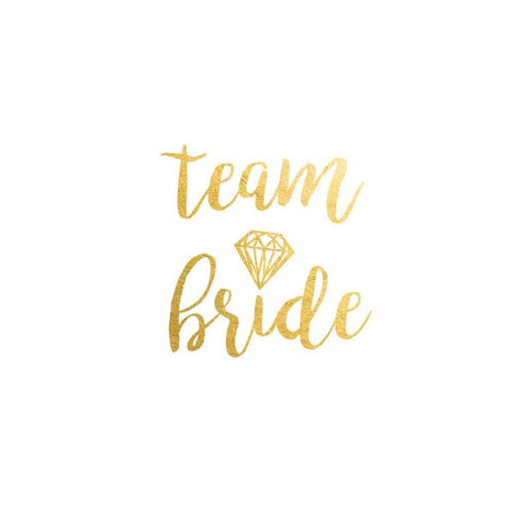 Bride Team Temporary Tattoo - Metallic Gold with Diamond ankle, arm, bridal, bride, bride tribe, bridesmaid, gold, metallic, order 30, sheet, tattoo, themed, wholesale, womens, wrist