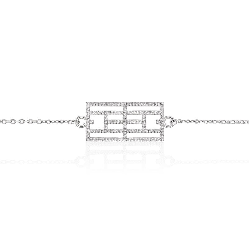 Calling the Lines CZ Bracelet, Rhodium Plated 12x24 - studio-margaret
