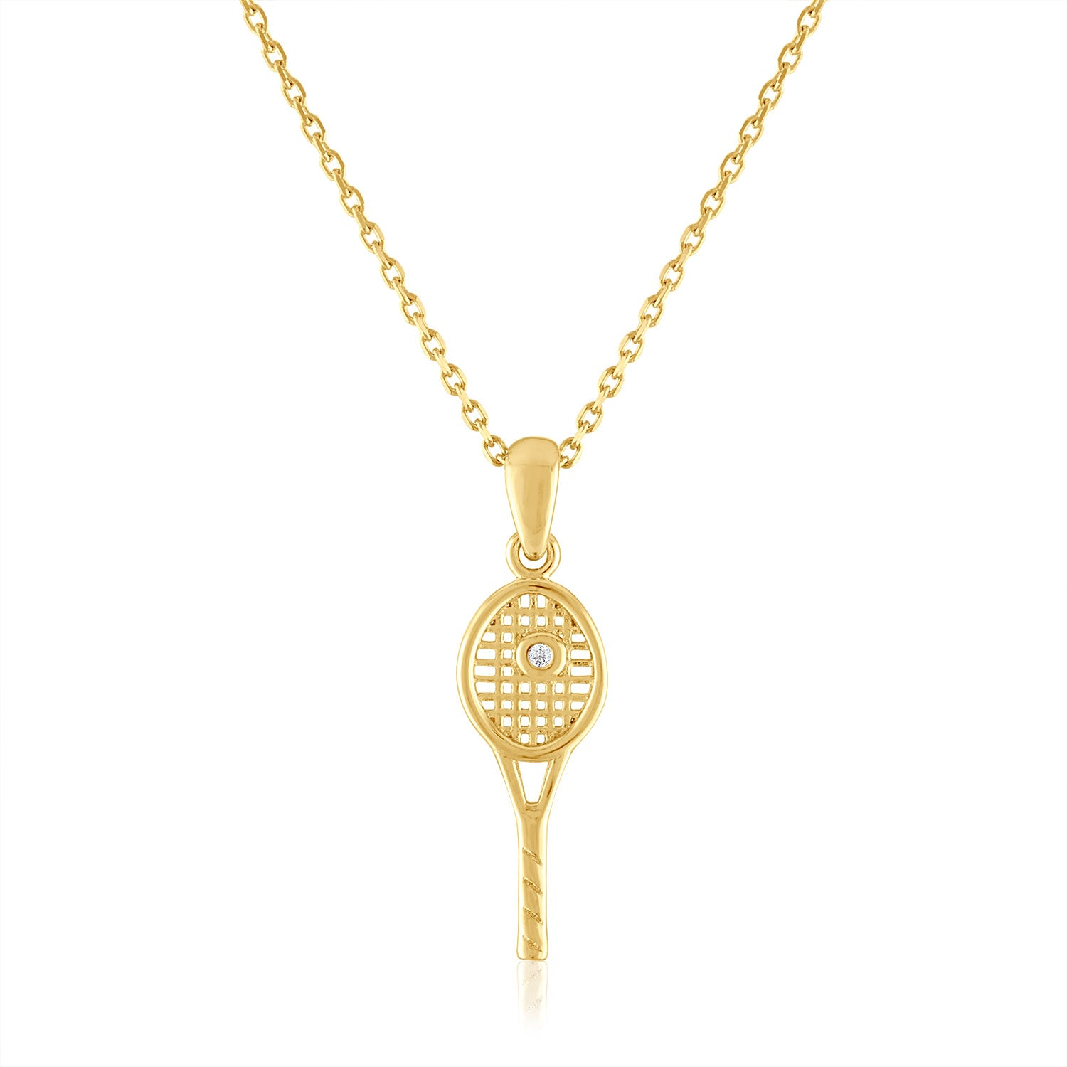 14Kt Gold and diamond Petite Racquet Pendant