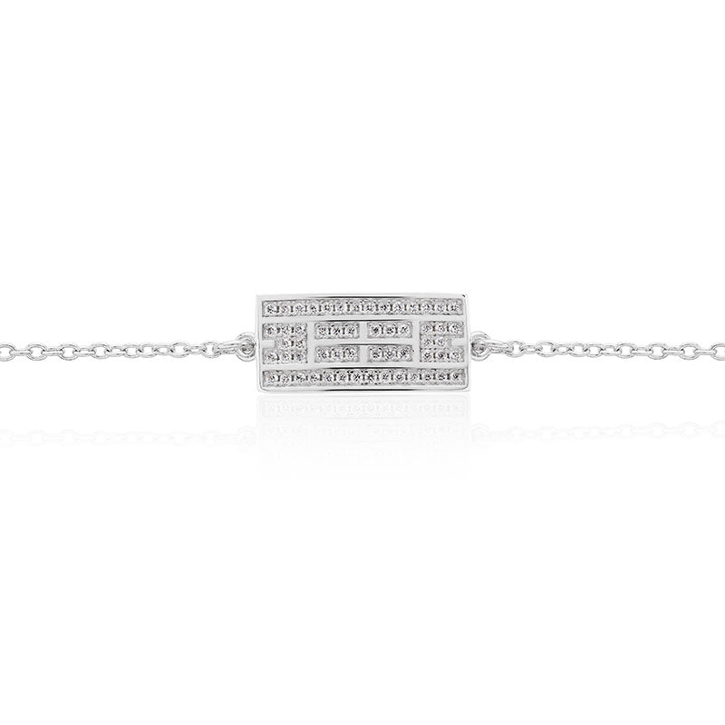 Tennis Court Curved Bracelet w/CZ, 9x18mm, Rhodium Plated - studio-margaret