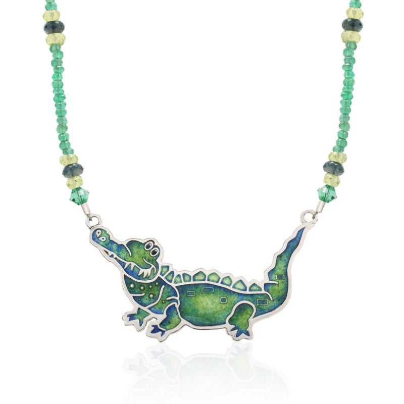 "Limited Edition Enameled Alligator on a strand of Faceted Peridot 17"" - studio-margaret"