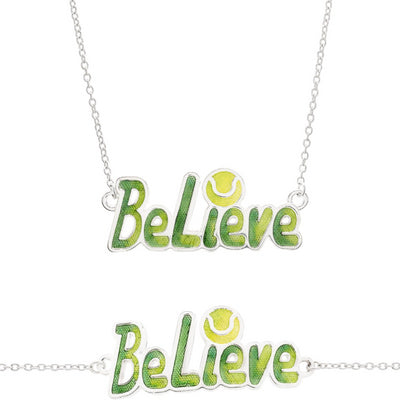 "Enameled ""Believe"" Tennis Necklace, Fine Silver - studio-margaret"
