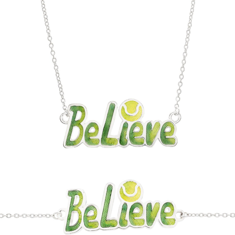 "Enameled ""Believe"" Tennis Necklace, Fine Silver"
