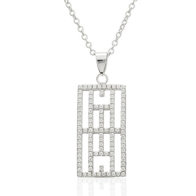 CZ Calling the Lines Tennis Pendant and Necklace