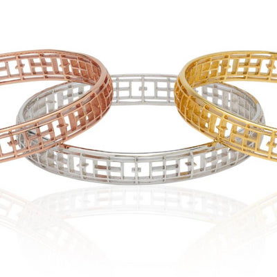 """Calling The Lines"" Tennis Court Bangle Bracelet (3 Finishes)"