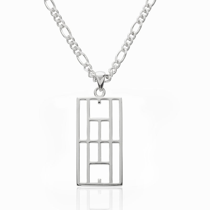 """Calling The Lines"" Tennis Court Pendant 15x30mm, Figaro Chain - studio-margaret"