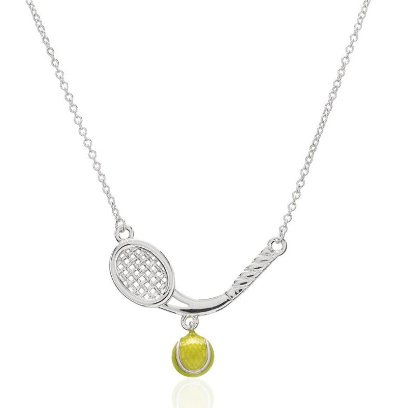 Curved Racquet Necklace w/ Enamel Tennis Ball - studio-margaret